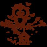 Samolepka na zeď: Sovička na větvi (1643) na stěnu