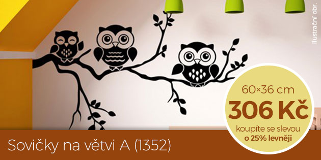 Sovičky na větvi A (1352) – samolepka na zeď