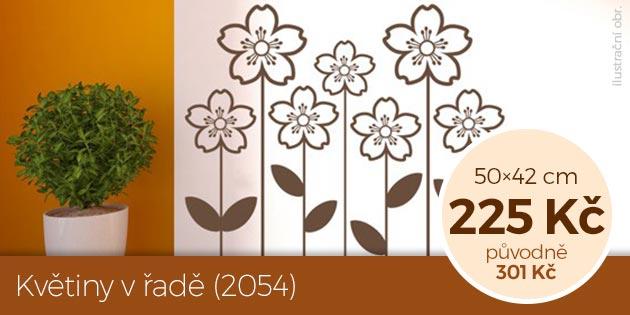 Květiny v řadě (2054) – samolepka na zeď