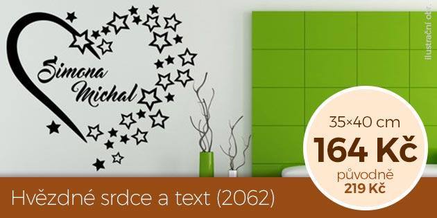 Hvězdné srdce a text (2062) – samolepka na zeď